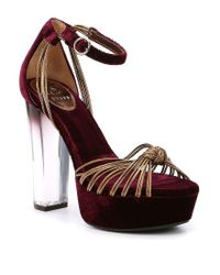 Guess - Blue Peakabo Platform Velvet Dress Sandals - Lyst