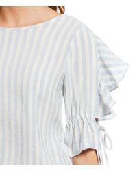 1.STATE - Multicolor Woven Ruffle Tie Sleeve Stripe Blouse - Lyst