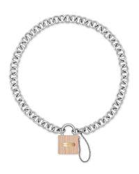 Michael Kors - Metallic Ridged Padlock Statement Necklace - Lyst