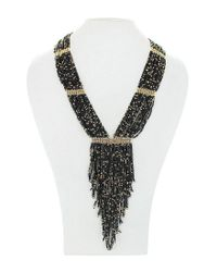 Panacea   Metallic Seed Bead Fringe Y-necklace   Lyst