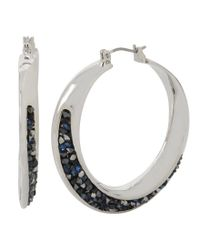 Kenneth Cole - Metallic Sprinkle Stone Hoop Earrings - Lyst