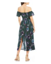 Patrons Of Peace Green Floral Printed Off-the-shoulder Midi Dress