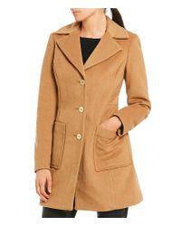 MICHAEL Michael Kors | Black Wool Single Breasted Notch Collar Reefer Coat | Lyst