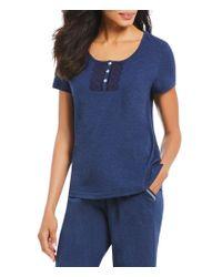 Karen Neuburger - Blue Solid Knit Henley Sleep Top - Lyst