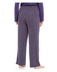 Donna Karan - Purple Plus Striped Jersey Lounge Pants - Lyst