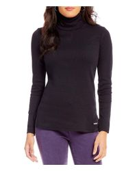 Jones New York - Black Rib Knit Jersey Long Sleeve Side-slit Hem Turtleneck Top - Lyst
