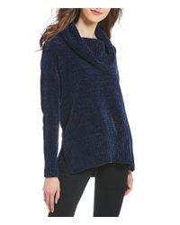 Ivanka Trump - Blue Chenille Cowl Neck Sweater - Lyst