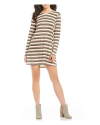 Rossmore. | Natural By Ppla Kadri Striped Lattice Back Knit Swing Dress | Lyst