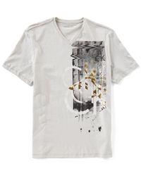 CALVIN KLEIN 205W39NYC Gray Jeans Short-sleeve Overlap Foil Ck Vneck T-shirt for men