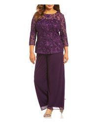 Alex Evenings - Purple Plus 2-piece Embroidered Pant Set - Lyst