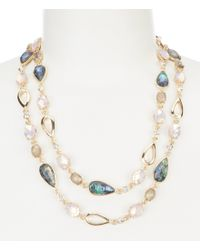 Anne Klein - Metallic Abalone Long Strand Necklace - Lyst