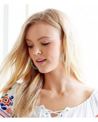 Kenneth Cole - Blue Turquoise Beaded Hoop Earrings - Lyst