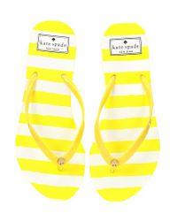 Kate Spade - Yellow Nassau Stripe Flip Flops - Lyst