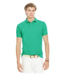 Polo Ralph Lauren | Green Custom-fit Solid Mesh Polo Shirt for Men | Lyst
