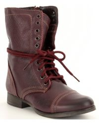 Steve Madden | Multicolor Troopa Military-inspired Zipper Lace Up Leather Combat Boots | Lyst