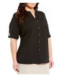 Calvin Klein - Black Plus Roll-tab Splitneck Shirt - Lyst
