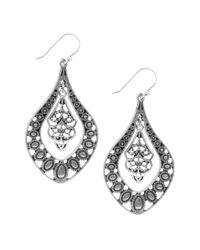 Lucky Brand | Metallic Silver Filigree Oblong Drop Earrings | Lyst