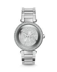 Michael Kors | Metallic Mid-size Stainless Steel Parker Analog Glitz Chronograph Bracelet Watch | Lyst
