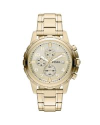 Fossil | Metallic Dean Goldtone Stainless Steel Chronograph Watch for Men | Lyst