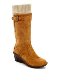 UGG | Brown ® Skyfall Sweater-cuff Suede Wedge Boots | Lyst