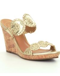 Jack Rogers | Metallic Luccia Stardust Leather Wedges | Lyst