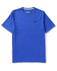 Under Armour - Blue Charged Cotton Sportstyle Logo Short-sleeve Crewneck Tee for Men - Lyst