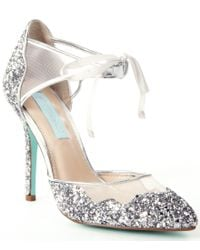 Betsey Johnson | Metallic Blue By Stela Glitter Ankle-strap Pointed-toe Pumps | Lyst