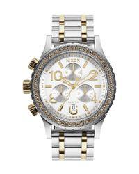 Nixon   Metallic '38-20 Chrono' Swarovski Crystal Watch   Lyst