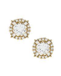 Anne Klein   Metallic Elevated Cubic Zirconia Stud Earrings   Lyst