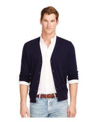 Polo Ralph Lauren | Blue Merino V-neck Elbow Patch Cardigan for Men | Lyst