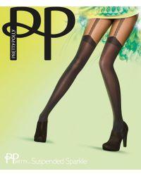 Pretty Polly - Black Gold Link Mock Suspender Tights - Lyst