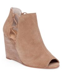 Lucky Brand | Natural Reevas Suede Leather Side Cutout Peep-toe Wedge Booties | Lyst