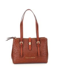 Dooney & Bourke | Brown Miller Ostrich-embossed Shopper Tote | Lyst