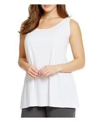 Eileen Fisher | White Stretch Silk Jersey Tank | Lyst