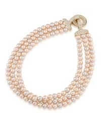 Carolee | Metallic Plaza Pink Pearl And Crystal Triple Row Necklace | Lyst