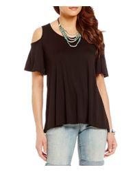 Bobeau - Black Short Sleeve Solid Knit Cold Shoulder Top - Lyst
