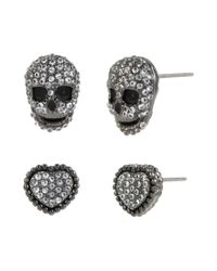 Betsey Johnson | Black Cubic Zirconia Pavé Heart & Skull Stud Earring Set | Lyst