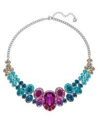 Swarovski | Blue Silver-tone Multi-color Crystal Collar Necklace | Lyst