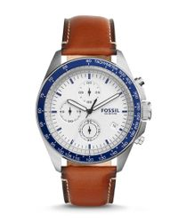 Fossil - Blue Sport 54 Chronograph & Date Leather-strap Watch for Men - Lyst