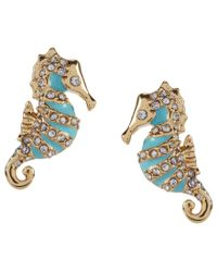 kate spade new york - Blue Kate Spade New Pork Paradise Found Seahorse Gold Plated Stud Earrings - Lyst
