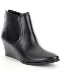 Jack Rogers | Black Emery Leather Scalloped Wedge Booties | Lyst