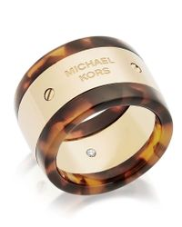 Michael Kors - Brown Logo Stainless Steel And Cubic Zirconia Plaque Barrel Ring - Lyst