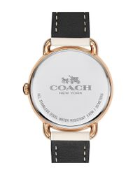 COACH - White Delancey Stainless Steel Chalk Grey Leather Strap Watch - Lyst