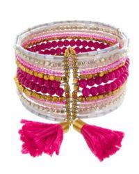 Panacea - Pink Tasseled Coil Bracelet - Lyst