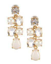 kate spade new york | Metallic Pearl & Crystal Chandelier Earrings | Lyst