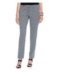 MICHAEL Michael Kors | Black Stretch Cotton Geometric-print Miranda Ankle Pants | Lyst