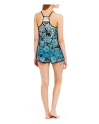 In Bloom by Jonquil - Blue Canyon Paisley Racerback Cami And Shorts Pajamas - Lyst