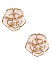 kate spade new york | Multicolor Sunset Blossoms Faux-pearl Floral Stud Earrings | Lyst