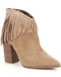 Kenneth Cole Reaction | Brown Pull Ashore Fringe Booties | Lyst