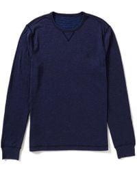 Original Penguin | Blue Long-sleeve Horizontal-striped/solid Reversible Knit Shirt for Men | Lyst